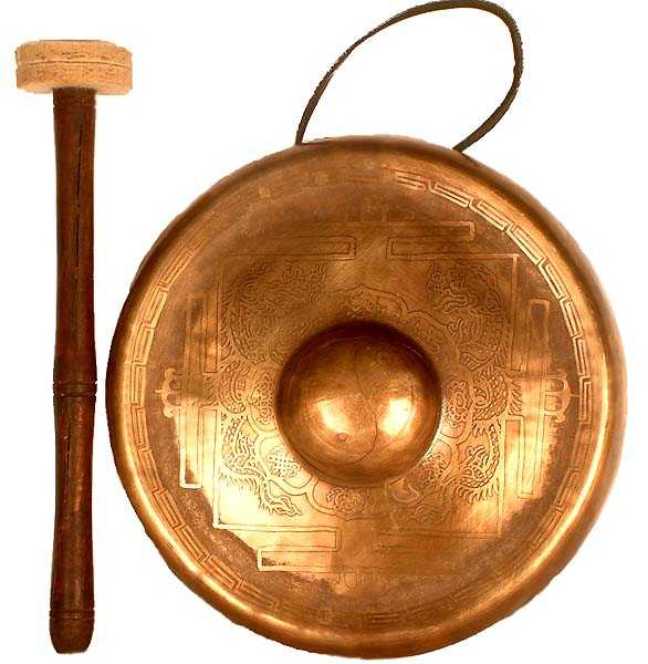 gong with dragon and eight auspicious symbols ec04 - Gonk